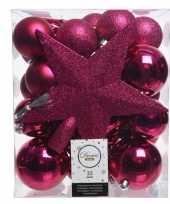 Fuchsia roze kerstballen pakket met piek 33 stuks trend