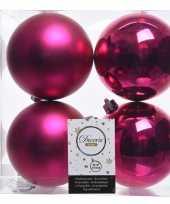 Fuchsia roze kerstversiering kerstballen 8x kunststof 10 cm trend