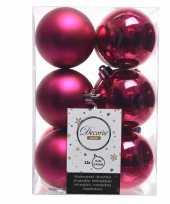 Fuchsia roze kerstversiering kerstballen kunststof 6 cm trend