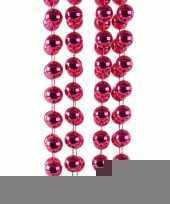 Fuchsia roze kerstversiering kralenketting 270 cm trend