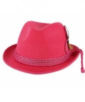 Fuchsia tiroler hoed met bruine veer trend