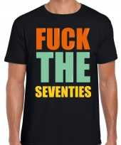 Fuck the seventies fun t-shirt zwart heren trend