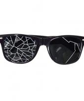 Fun bril zwart met kapotte glazen trend