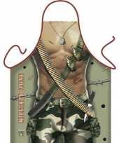 Funny bbq schorten military zone man trend