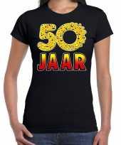 Funny emoticon 50 jaar cadeau shirt zwart voor dames trend