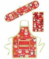 Funny keukentextiel set 3 delig rood groen trend