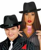 Gangster hoed zwart wit voor dames heren trend 10099465