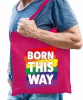 Gay pride born this way tas katoen fuchsia roze trend