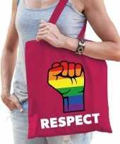 Gay pride respect katoenen tas roze trend