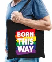 Gaypride born this way tas katoen zwart trend