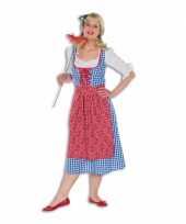 Geblokte lange tiroler dames jurk trend