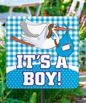 Geboorte decoratie tuinbord jongen trend