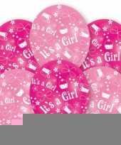 Geboorte meisje ballonnen 6 stuks trend