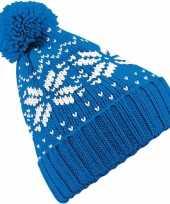 Gebreide blauwe nordic print muts met pompon voor meisjes trend