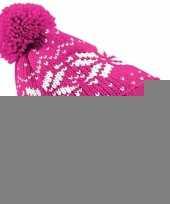 Gebreide roze nordic print muts met pompon voor meisjes trend
