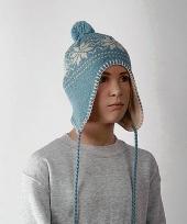 Gebreide sherpa kinder muts blauw trend