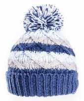 Gebreide winter muts blauw grijs met pompon voor baby trend
