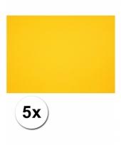Geel knutselpapier a4 formaat 5 stuks trend