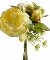 Geel kunstbloemen boeket 20 cm pioenroos dille trend
