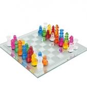 Gekleurd schaak spelletje van glas trend