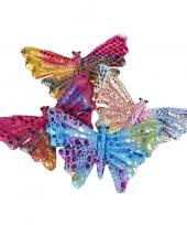 Gekleurd vlinder knuffeltje 12cm trend