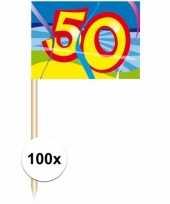 Gekleurde cocktail prikkers 50 jaar 100 stuks trend