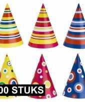 Gekleurde feesthoedjes 100 stuks trend
