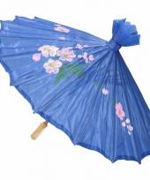 Gekleurde paraplu chinese stijl blauw 80 cm trend