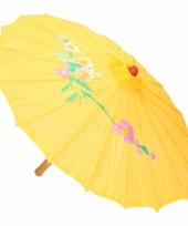 Gekleurde paraplu chinese stijl geel 80 cm trend