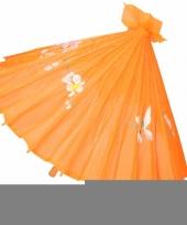 Gekleurde paraplu chinese stijl oranje 80 cm trend