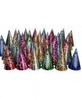 Gekleurde punthoedjes glitter feest 50 stuks trend