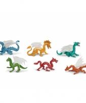 Gekleurde speelgoed draken 6 stuks trend