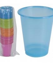 Gekleurde wegwerp bekers 200 ml set van 50 trend