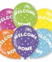Gekleurde welkom thuis ballonnen 6 stuks trend