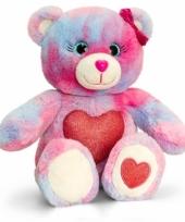 Gekleurde zittende beer met rood hart 25cm trend