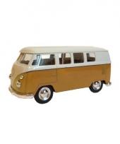 Gele 1962 hippiebus speelgoedauto 15 cm trend