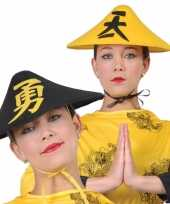 Gele aziatische verkleedhoed voor volwassenen trend
