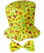 Gele hoge hoed met stippen trend