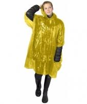 Gele poncho met capuchon voor volwassenen trend