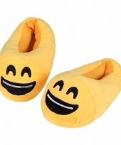 Gele smiley kids slofjes met lach voor kinderen trend