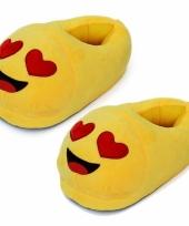 Gele smiley slofjes met hartjesogen voor dames trend