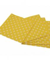 Gele wegwerp servetten met witte stippen 16st trend