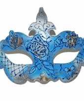 Gemaskerd bal blauw gouden oogmasker trend