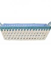 Gestoffeerd mandje met keramieken handvaten large blauw trend