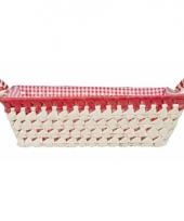 Gestoffeerd mandje met keramieken handvaten large rood trend