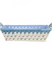 Gestoffeerd mandje met keramieken handvaten medium blauw trend