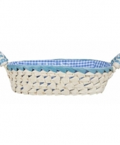 Gestoffeerd ovaal mandje met keramieken handvaten medium blauw trend
