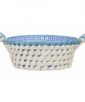 Gestoffeerd rond mandje met keramieken handvaten large blauw trend