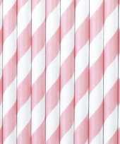 Gestreepte rietjes lichtroze wit 20 stuks van papier trend