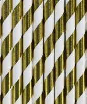 Gestreepte rietjes van papier goud wit 20 stuks trend